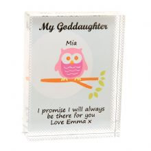 Godchild Owl Crystal - Unique Personalised Godson or Goddaughter Keepsake Gift